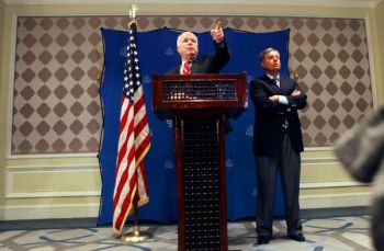Amr Nabil/Associated Press - Senators John McCain, left, and Lindsey Graham in Cairo on Aug. 6, after they met with military leaders